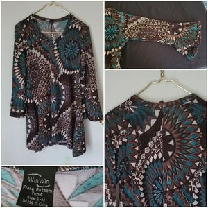 Win Win boho turquoise brown small V neck tunic